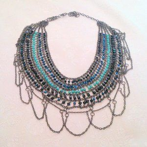 Gunmetal Glass Beaded Chain Mail Necklace